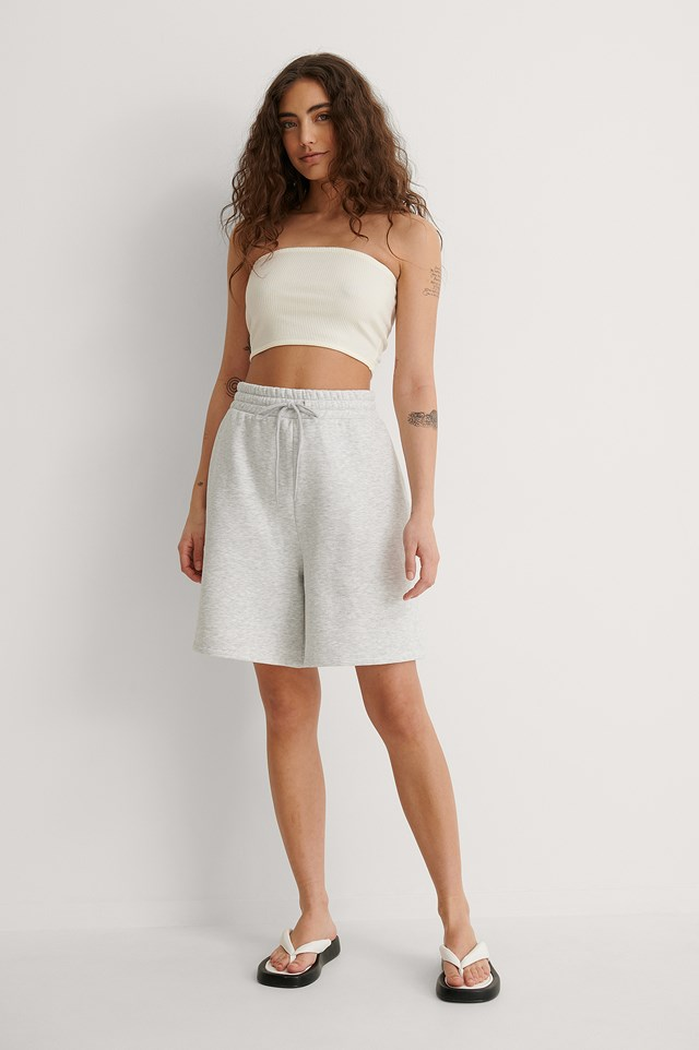 Offwhite Ribbed Bandeau Top