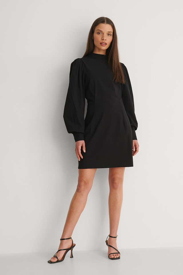NA-KD High Neck LS Dress Outfit
