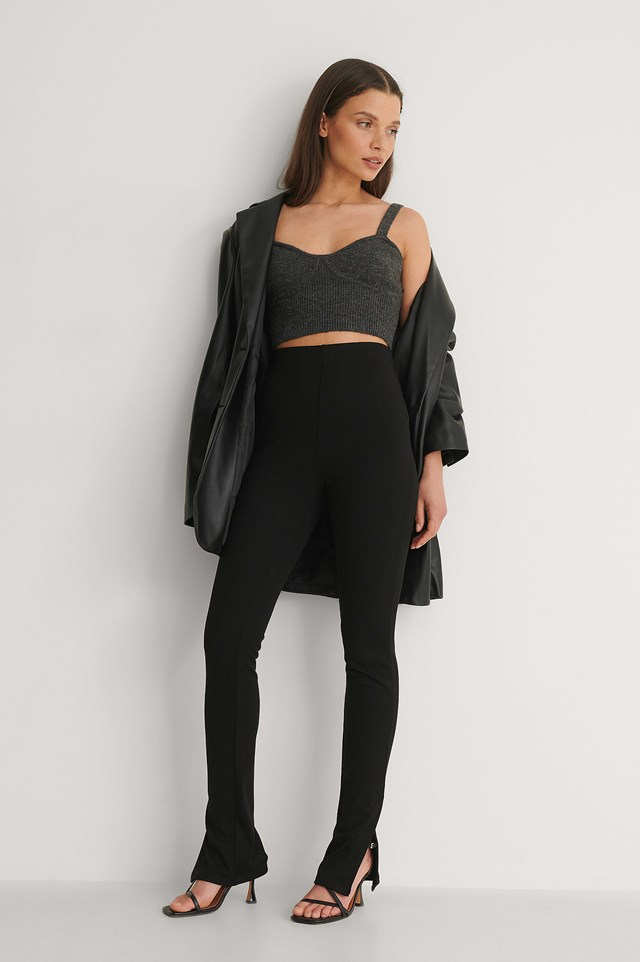 Ribbed Slit Detail Pants Outfit