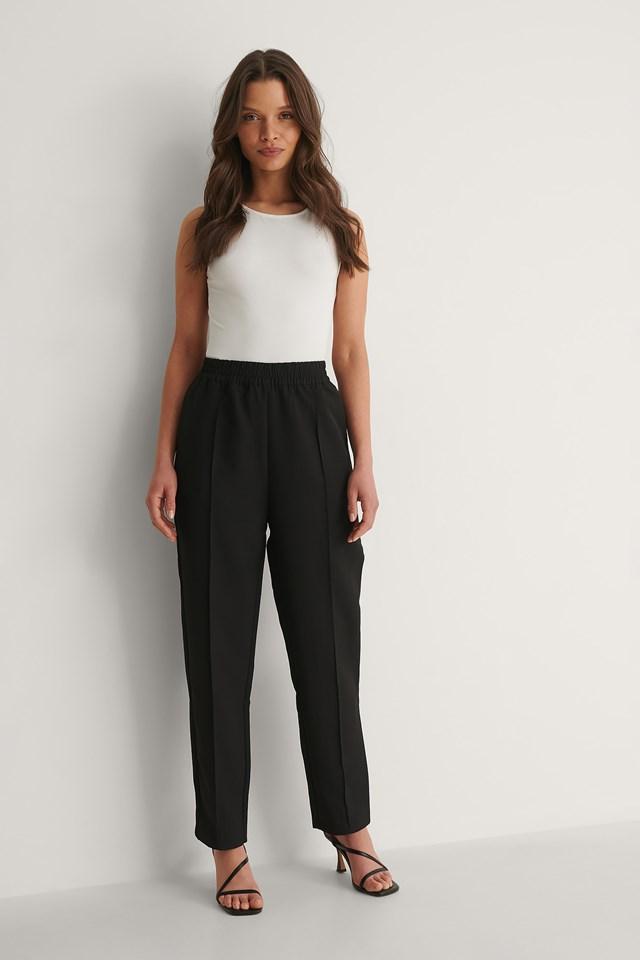 NA-KD Elastic Waist Seamline Pants Outfit
