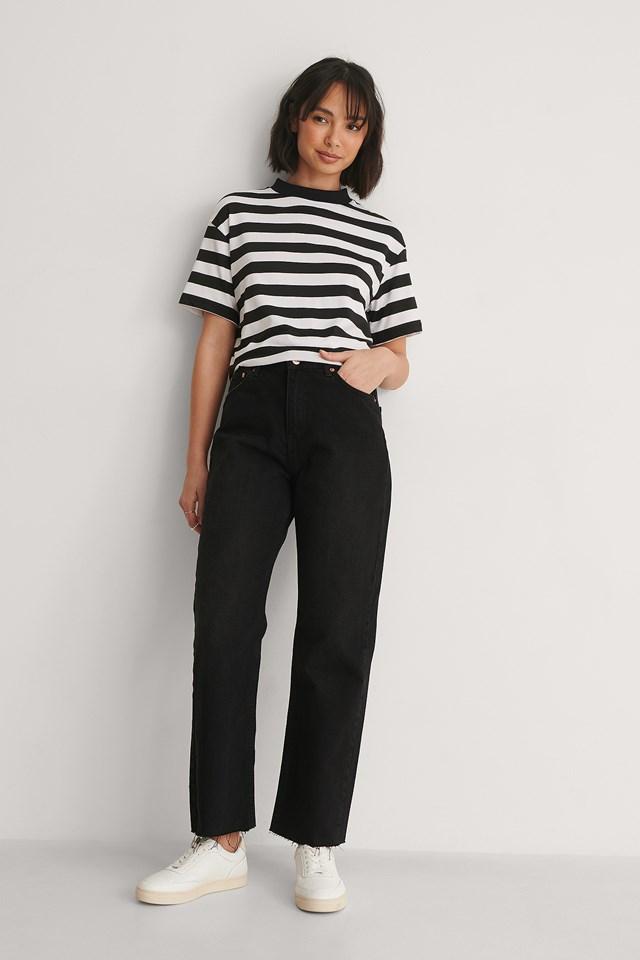 Straight High Waist Raw Hem Jeans Petite Outfit