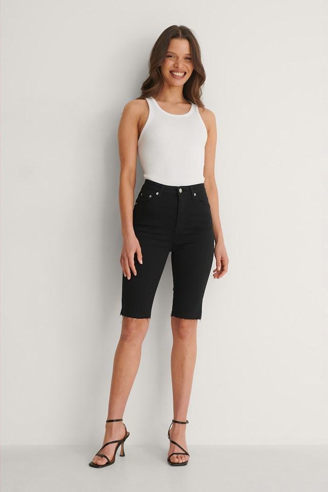 Skinny Raw Hem Bermuda Shorts Outfit