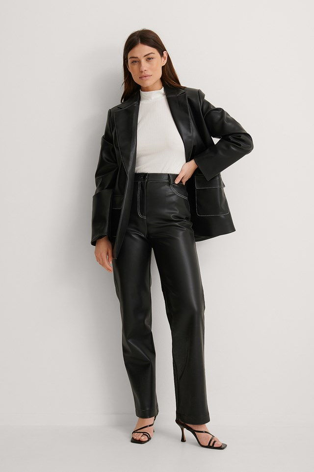 NA-KD Ribbed Tie Neck Detail Top Outfit