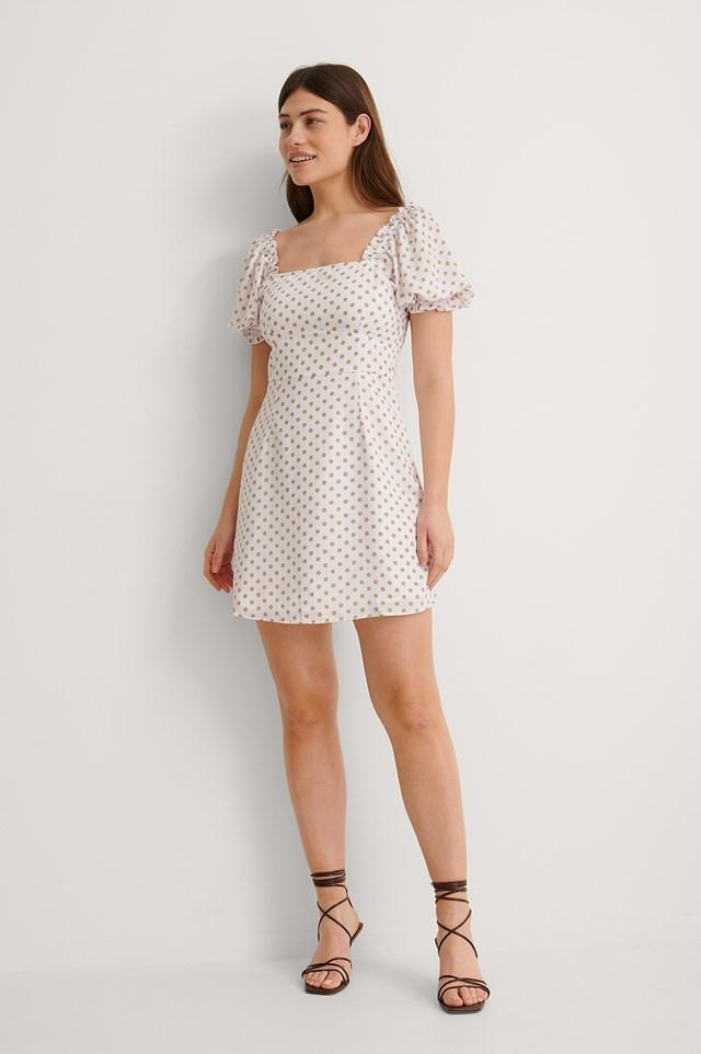 Flounce Puff Sleeve Dress Outfit