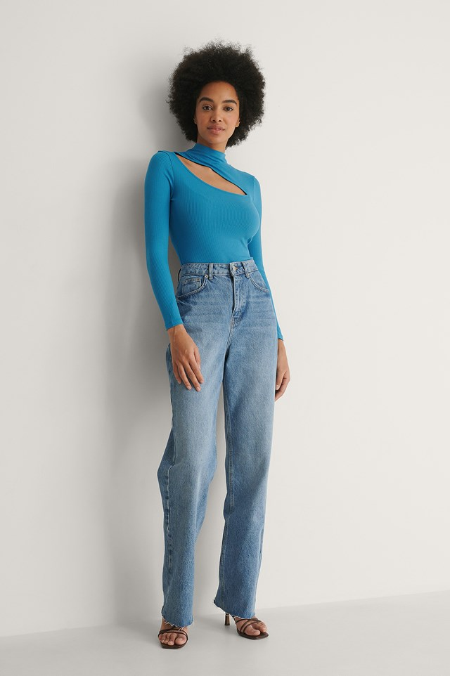 Cut Out Rib Top Outfit