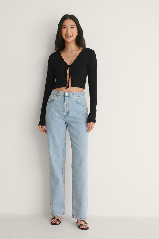 Ribbed Front Knot Detail Top