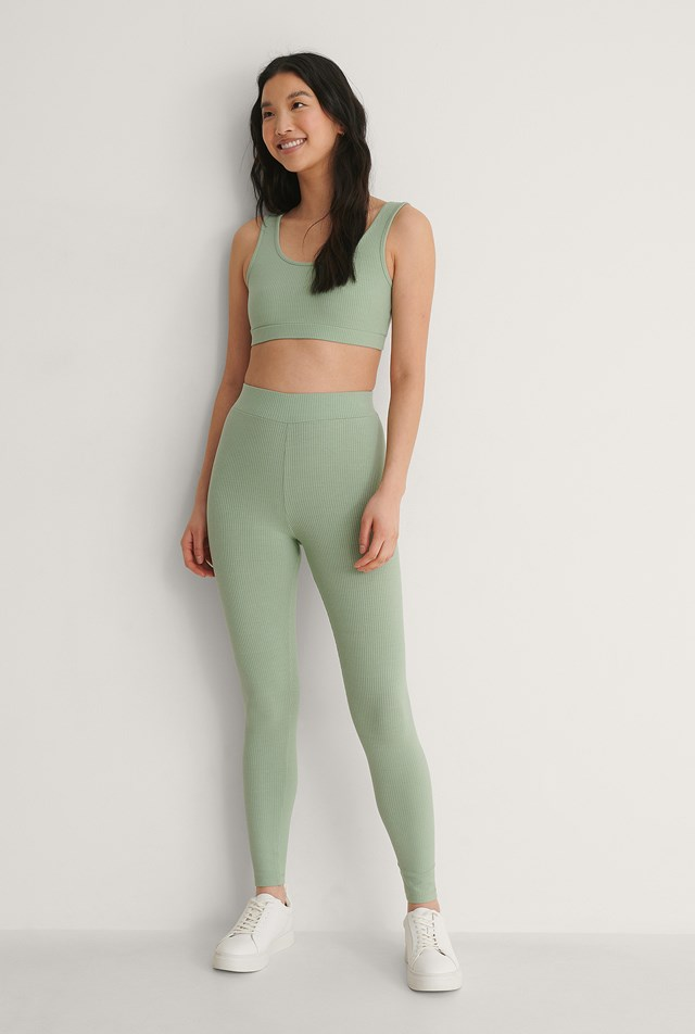 Recycled Ribbed High Waist Tights Outfit