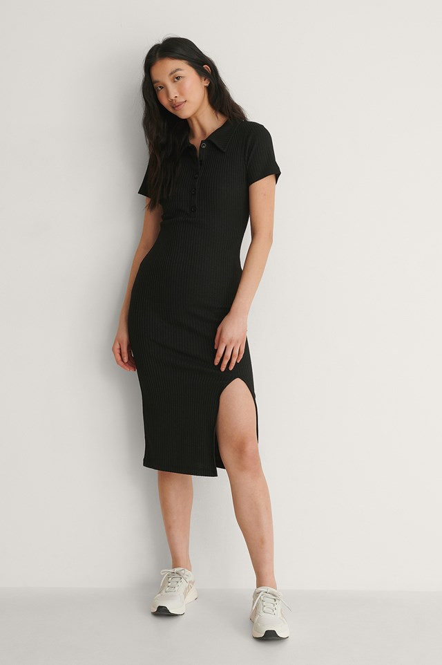 Ribbed Button Slit Dress Outfit.