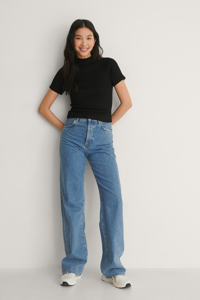 Wide Rib Short Sleeve Top Outfit.