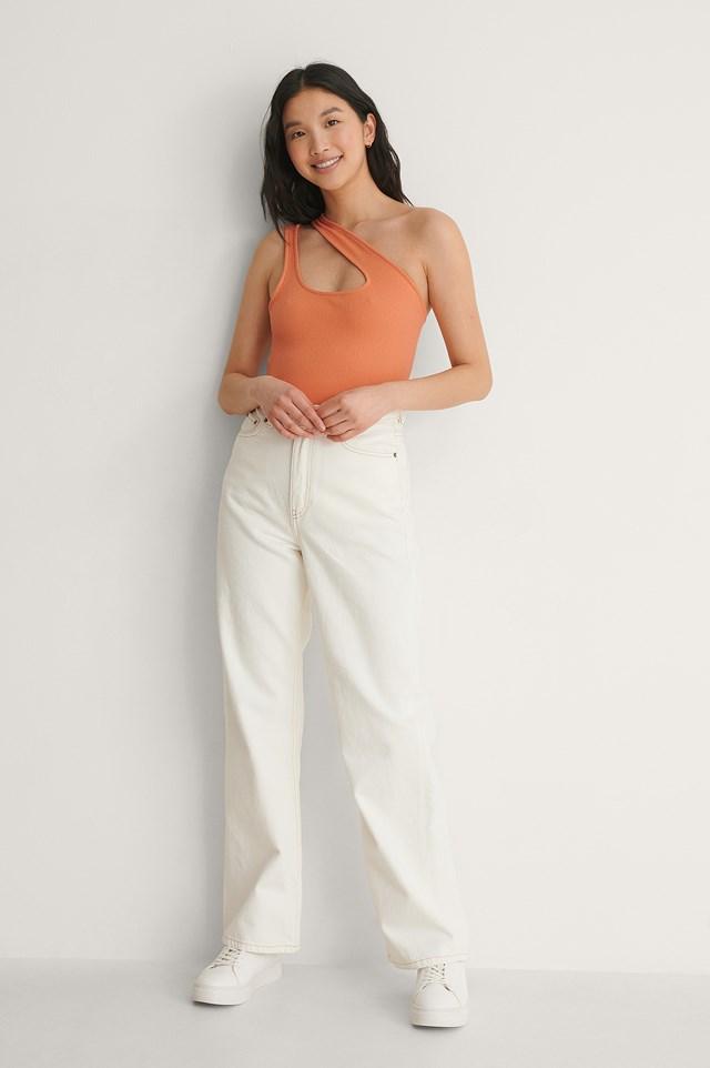 NA-KD Asymmetric Ribbed Singlet Outfit