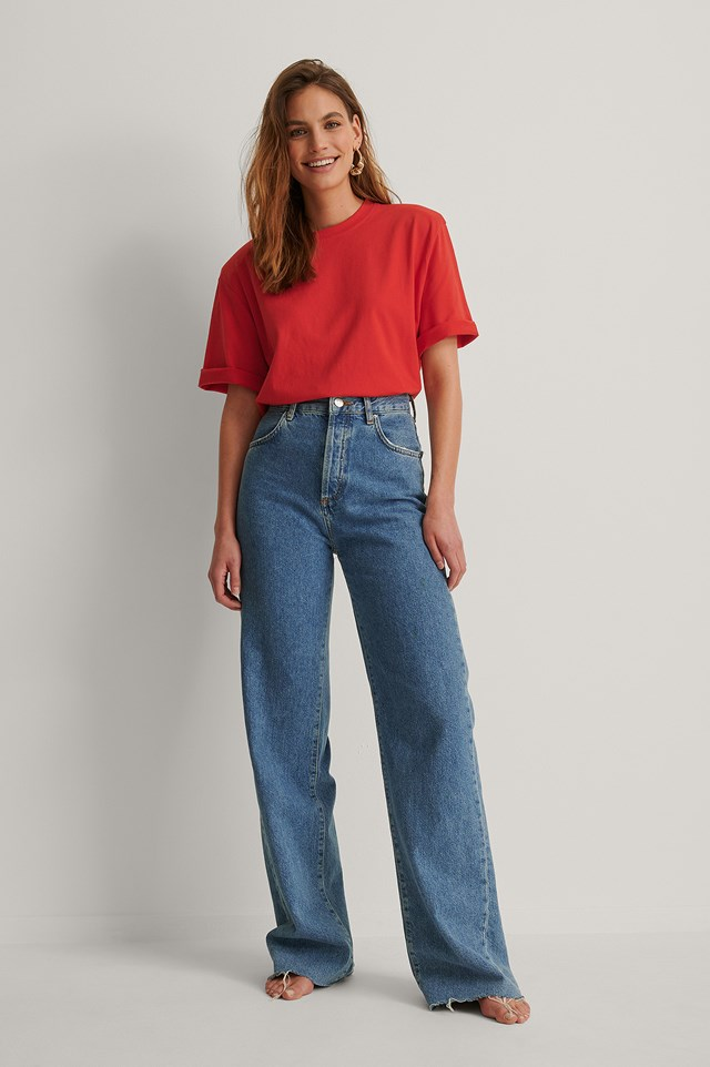 Shoulder Pad Boxy Tee Outfit