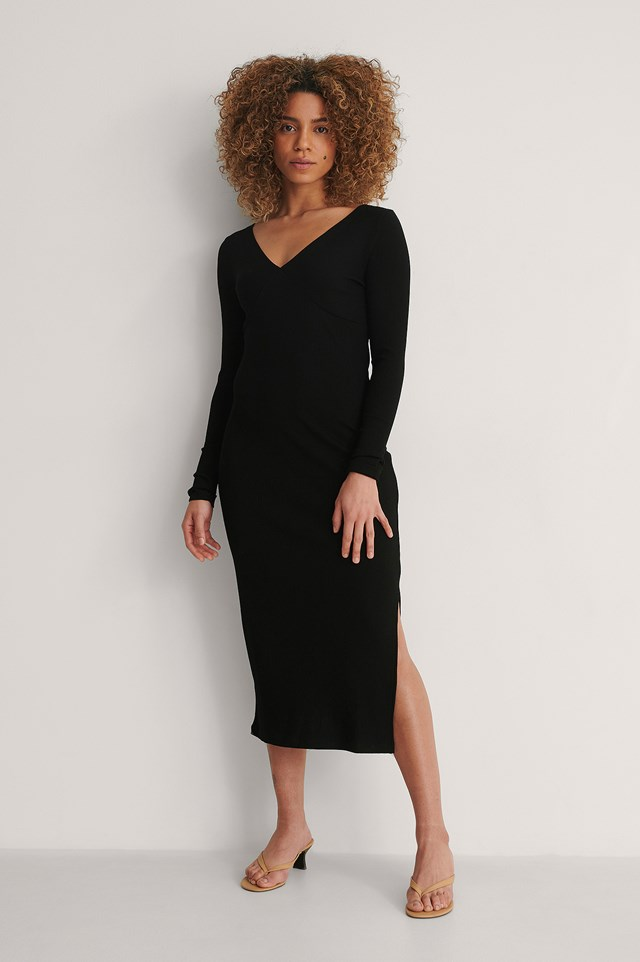Off Shoulder Rib Dress Outfit.