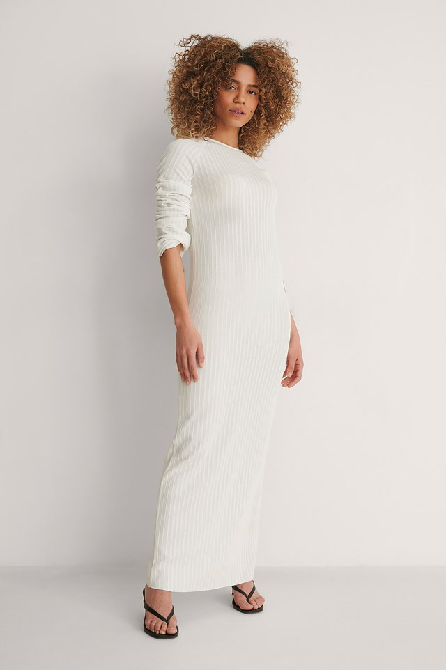 Offwhite Ribbed Maxi Dress