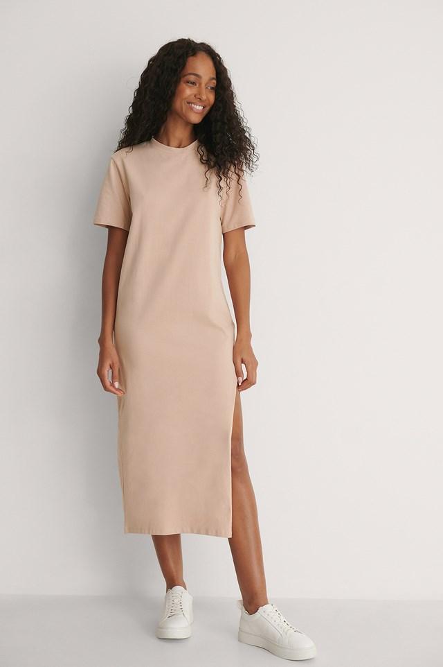 Front Slit T-shirt Dress Outfit