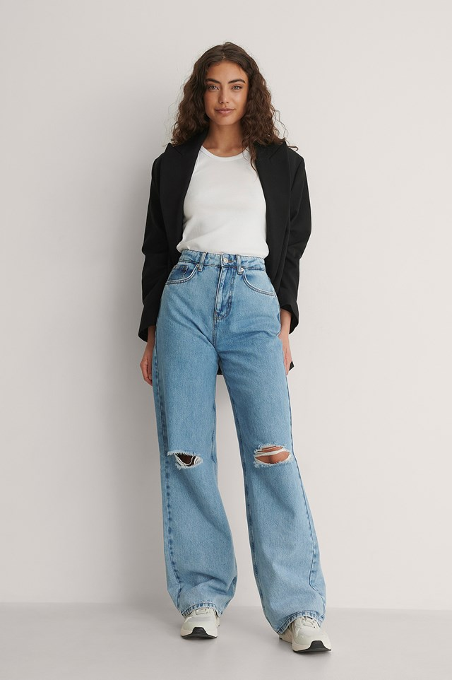 Soft Rigid Wide Leg Destroyed Jeans Outfit
