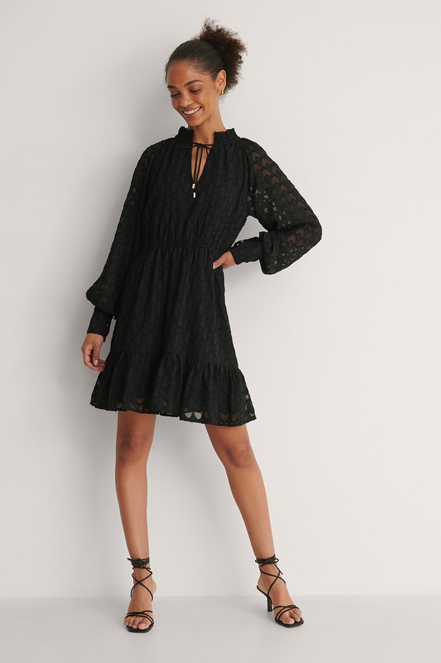 Frill Neck Jacquard Detail Mini Dress Outfit