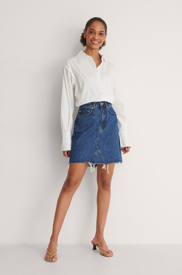 Mid Blue Raw Hem Mini Denim Skirt