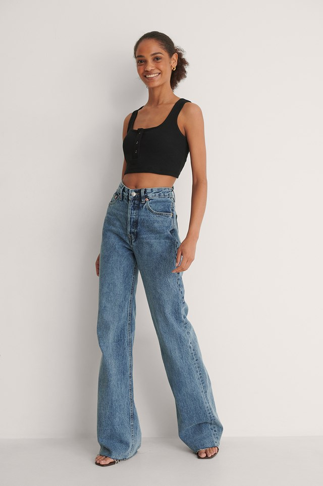 Button Detail Crop Top Outfit