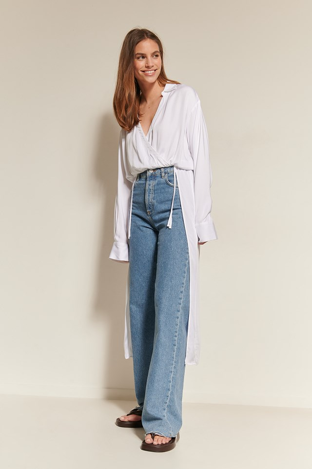 Overlap Front Shirt Blouse Outfit