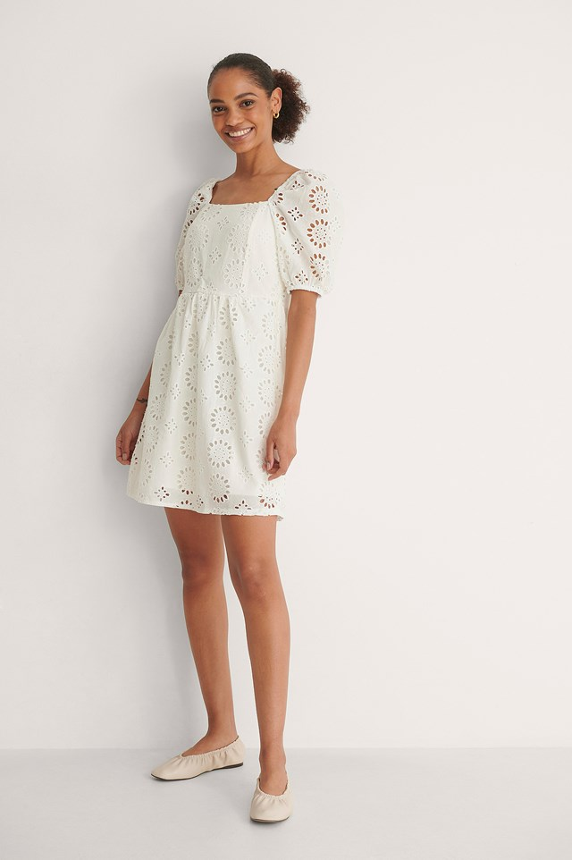 Square Neck Embroided Dress Outfit