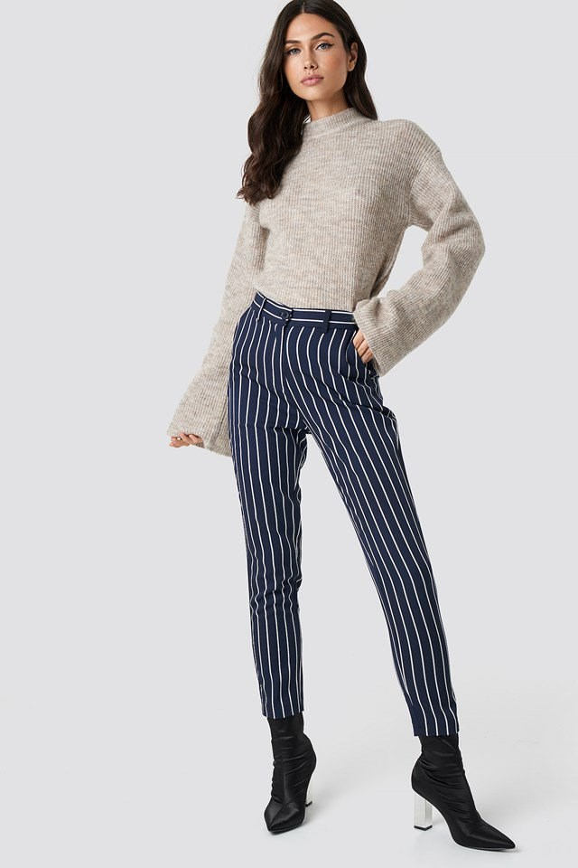 Striped Pant Wool Sweater Outfit