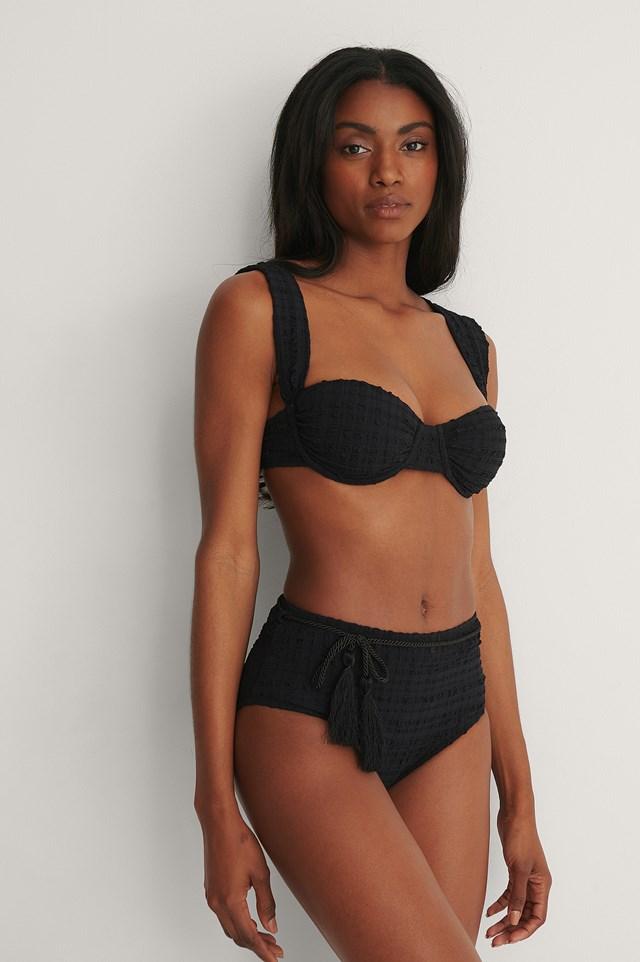 Black Textured Bikini Bottom