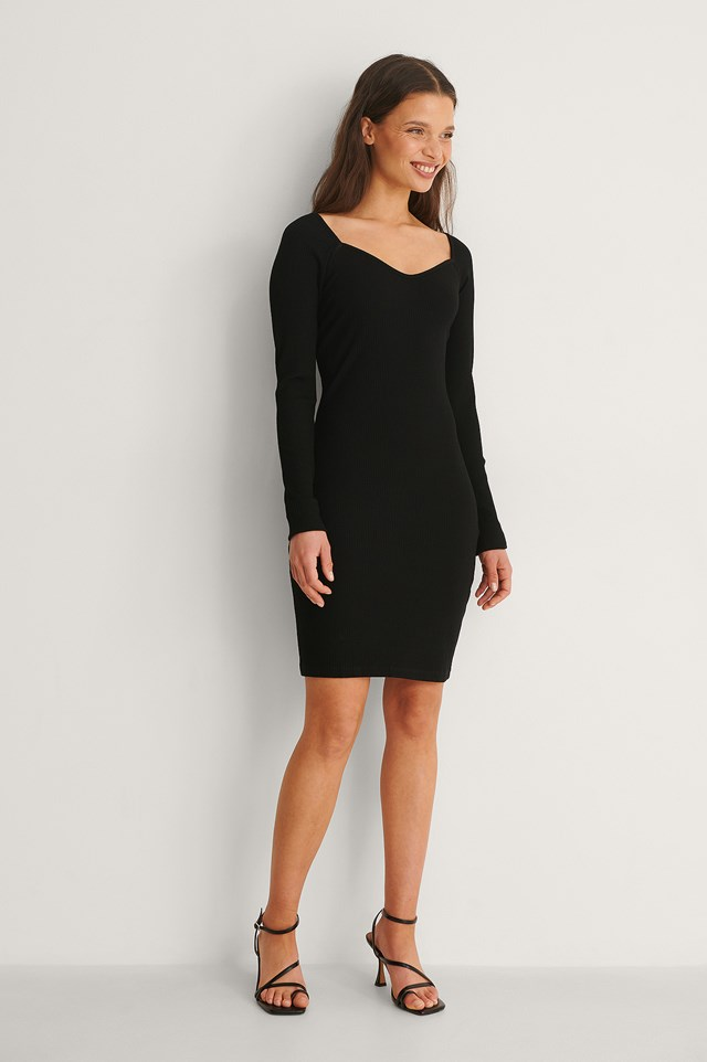 Heart Neckline Ribbed Dress Outfit.