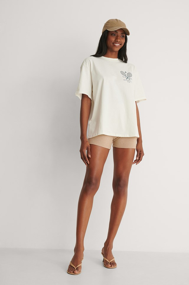 Off White Organic Tennis Club Printed T-Shirt