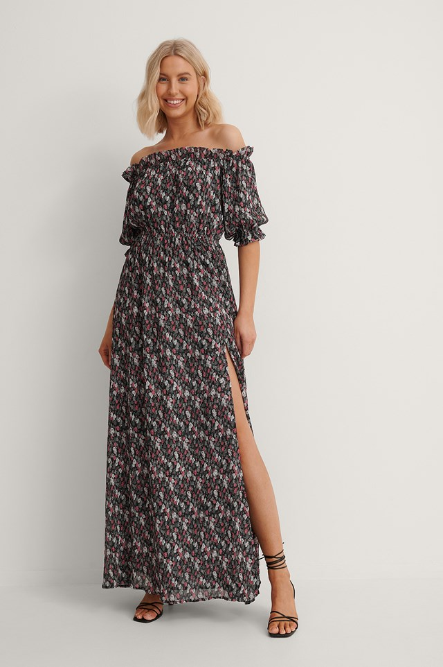 Off Shoulder Flounce Detail Maxi Dress Outfit.