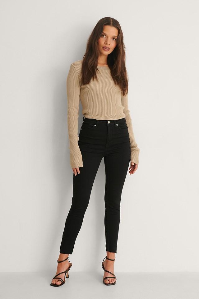 Black Skinny High Waist Raw Hem Jeans Petite