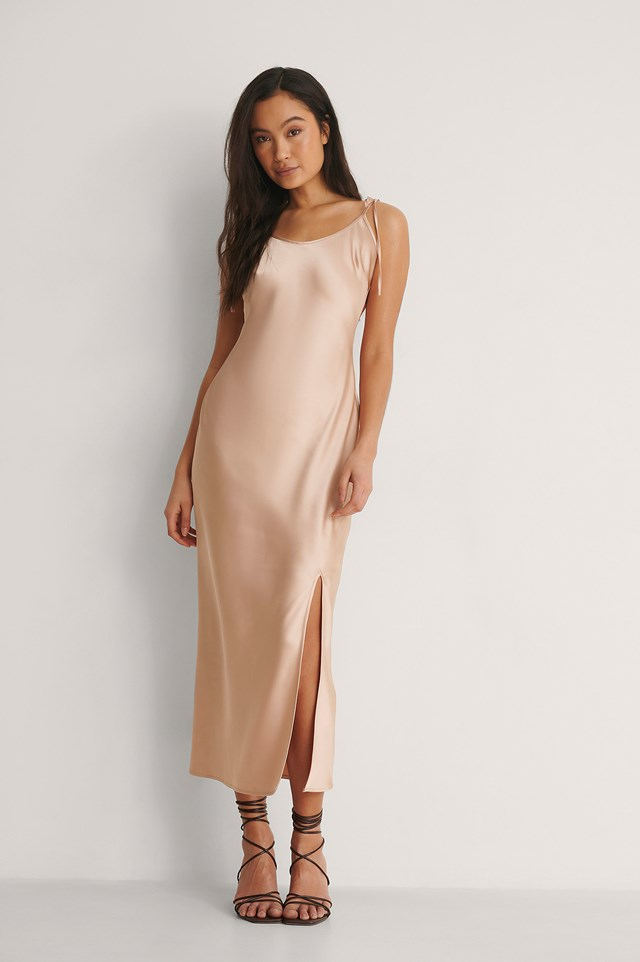 Front Slit Satin Midi Dress Outfit.
