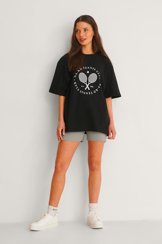 Tennis Club Printed T-Shirt Outfit