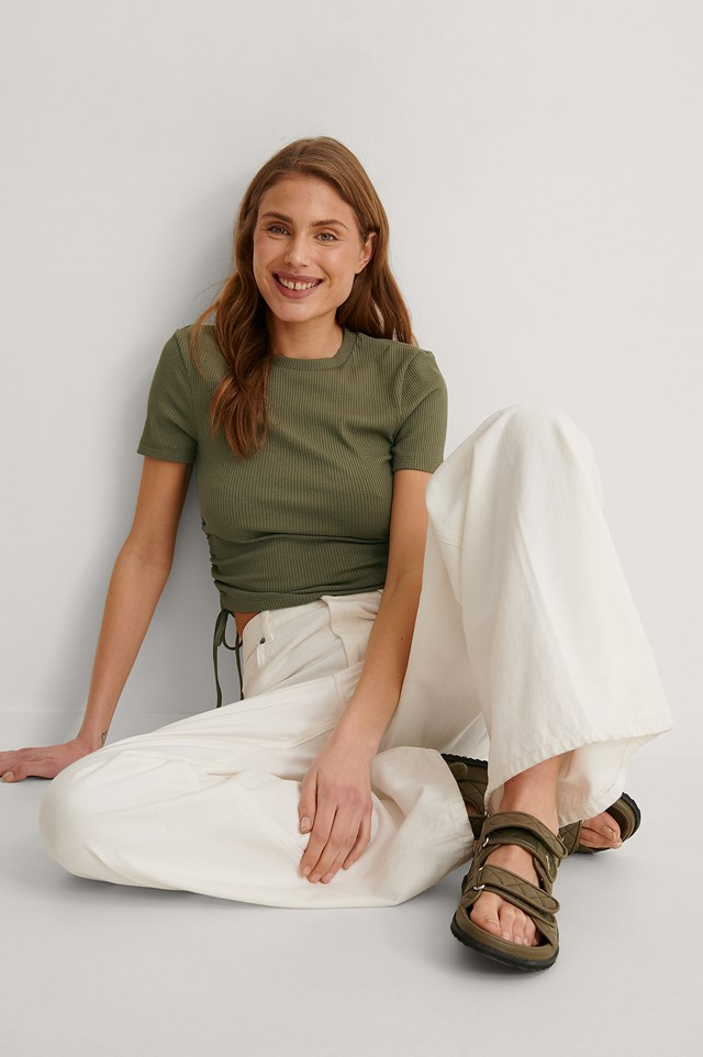Short-Sleeved Drawstring Top Outfit.