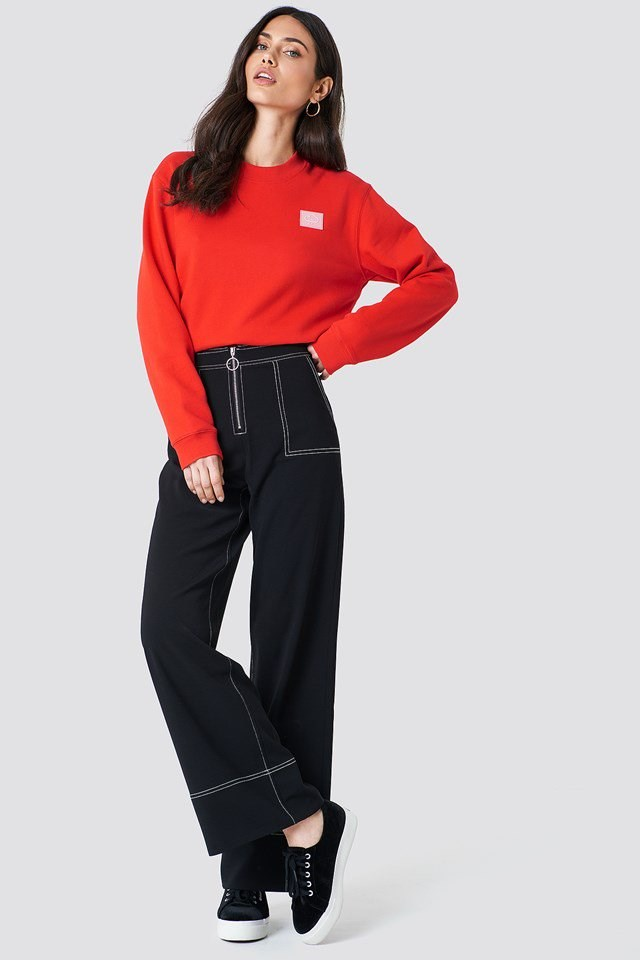 Red Sweater Wide Trouser Outfit