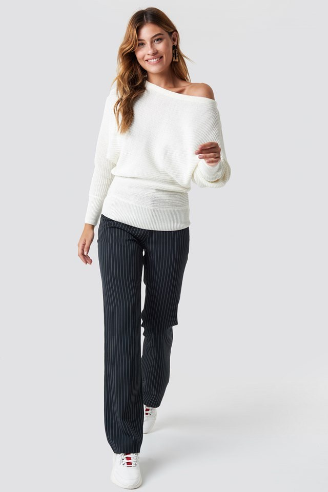 Casual Off Shoulder Knit and Pant Outfit