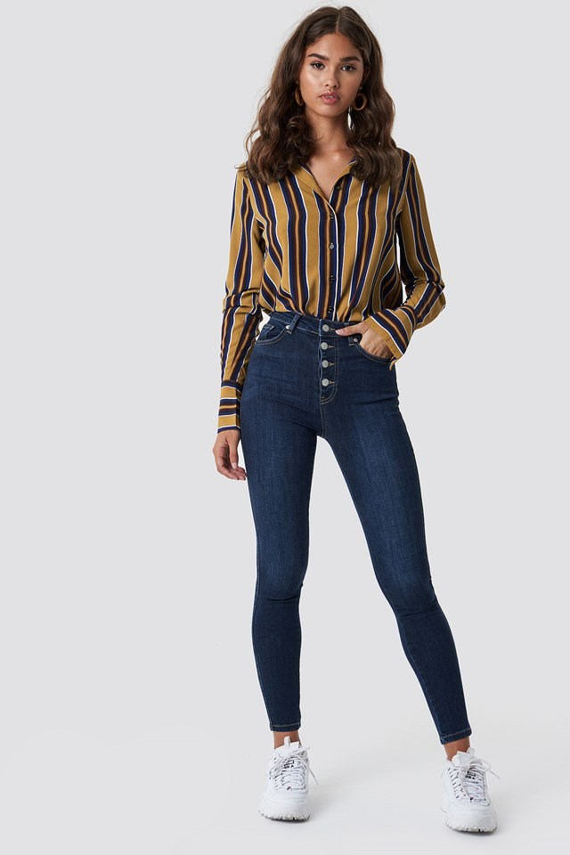 Jeans with Striped Top Outfit.