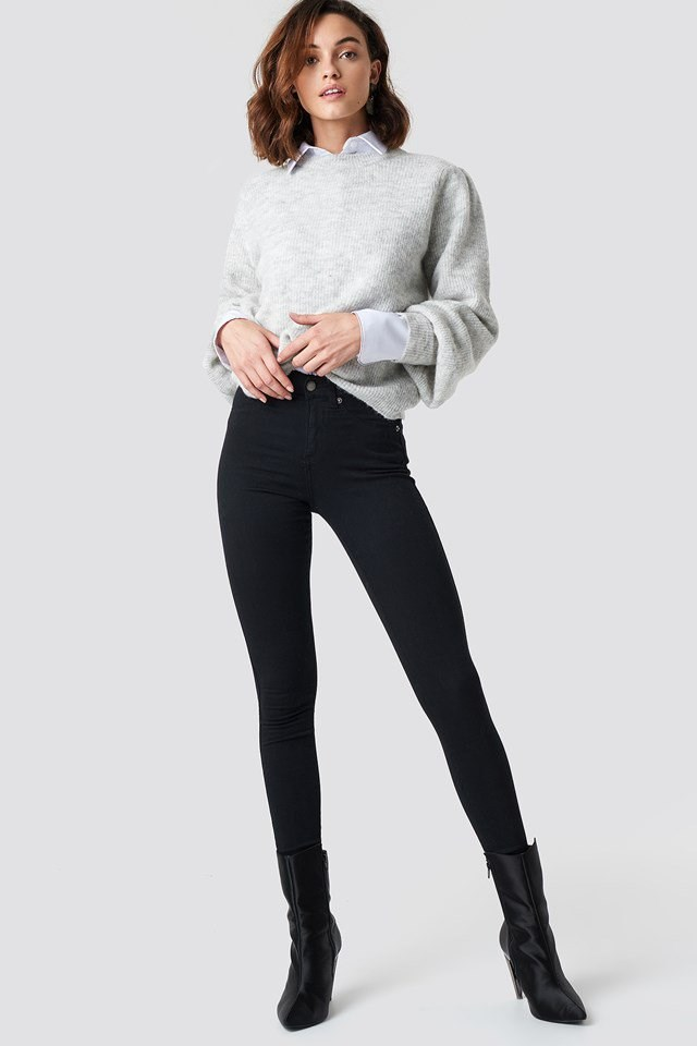 Grey Sweater and Dark Jeans Outfit.