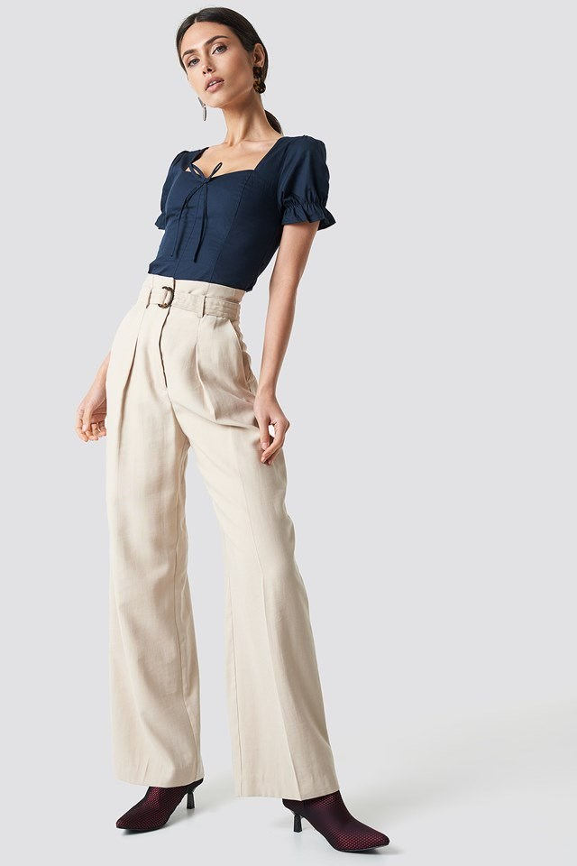 Blue Top with High Waisted Pants Outfit.