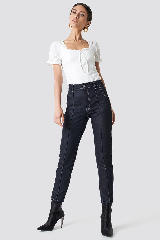White Top With High Waisted Jeans Outfit.