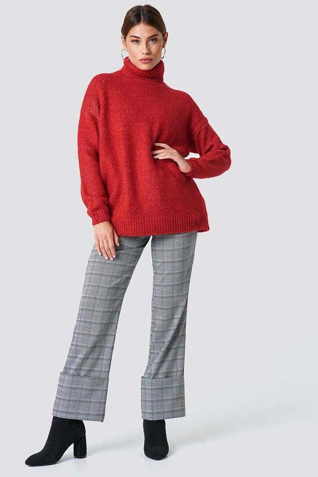 Oversized Red Knit X Checkered Pants Outfit