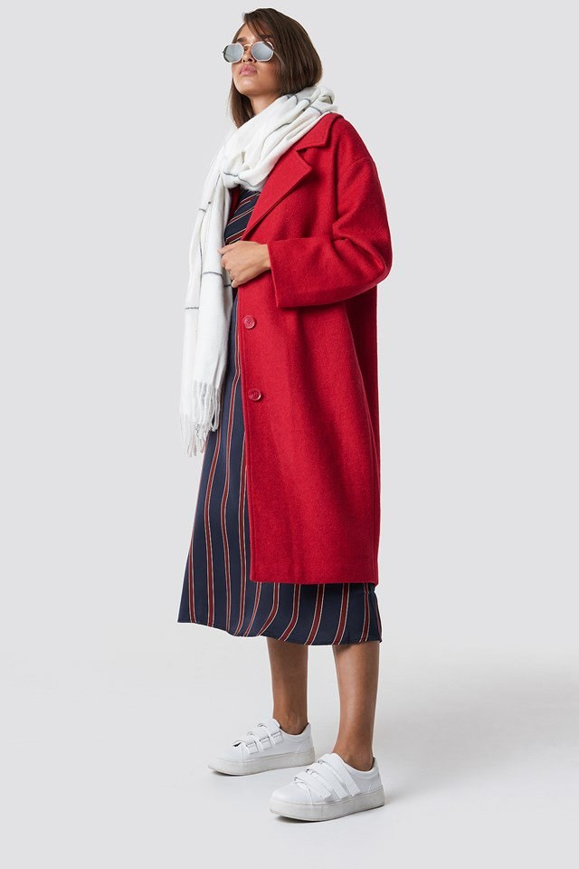 Red Coat and Scarf Outfit