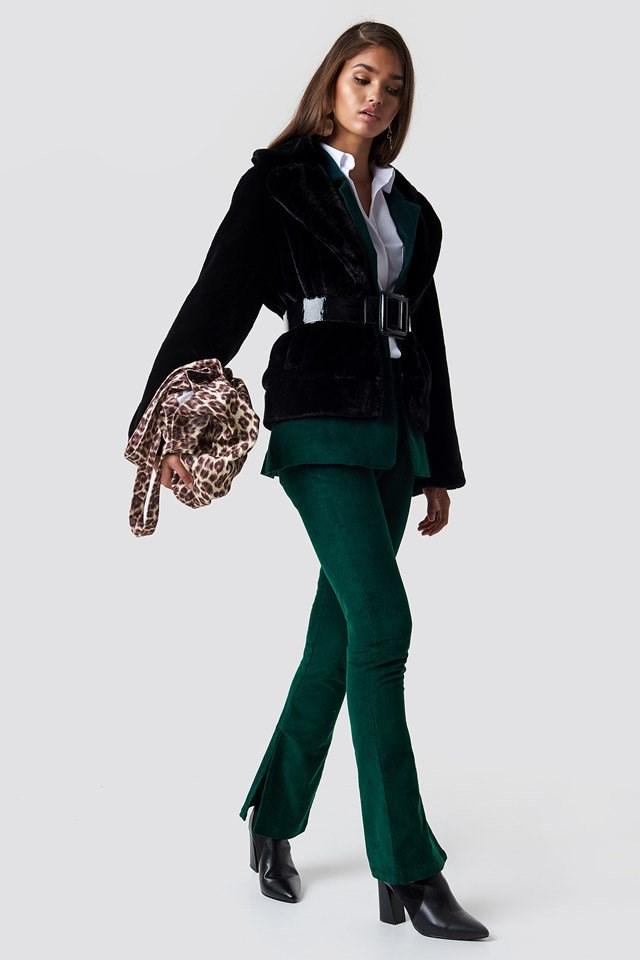 Fur Coat X Green Pant Suit Outfit
