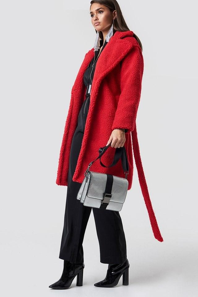 Red Fur Coat Jumpsuit Outfit