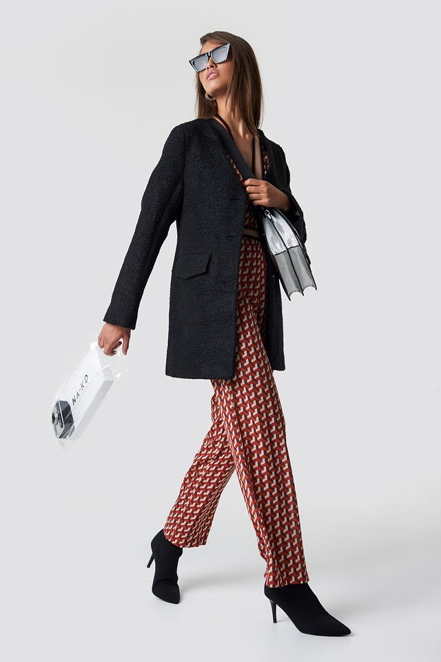 Black Coat Over Prints Outfit