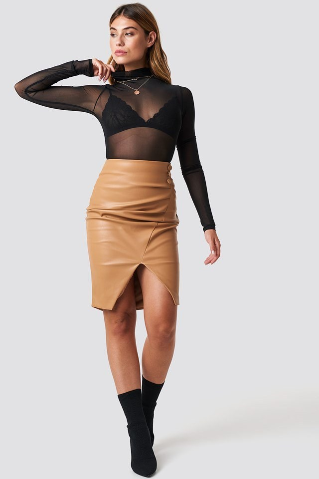 Urban Mesh Top Leather Skirt Outfit