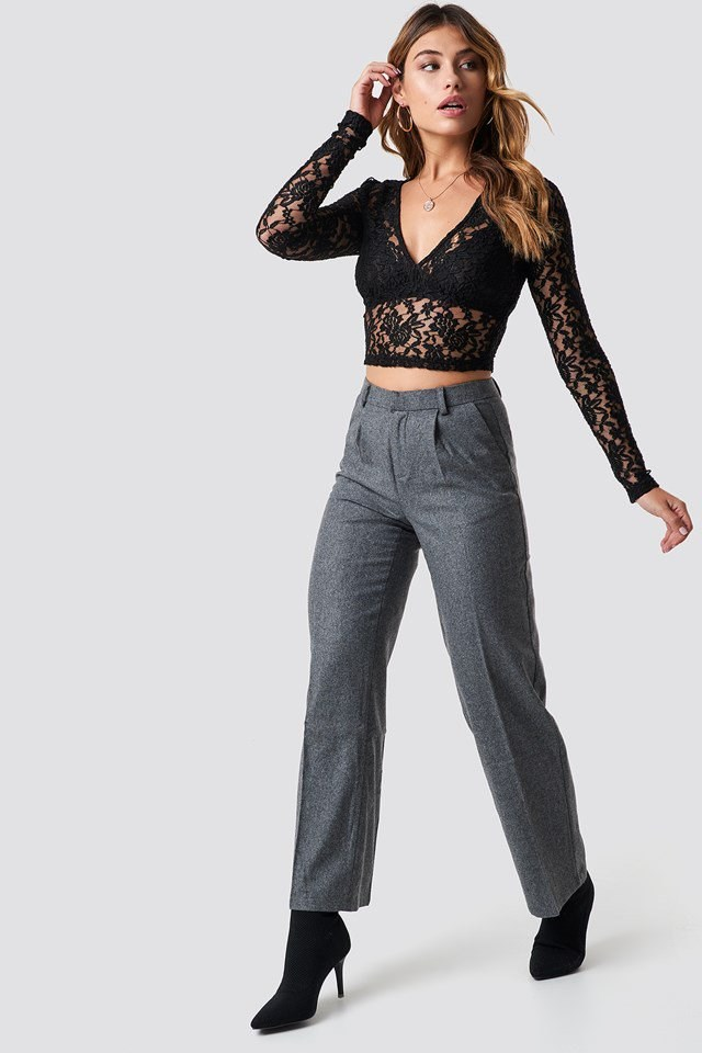 Cropped Lace and Trousers Outfit
