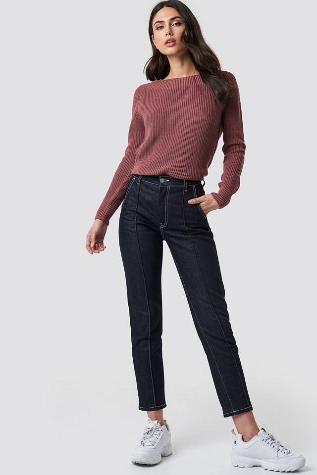 Wide Neck Pink Knit and Denim Outfit