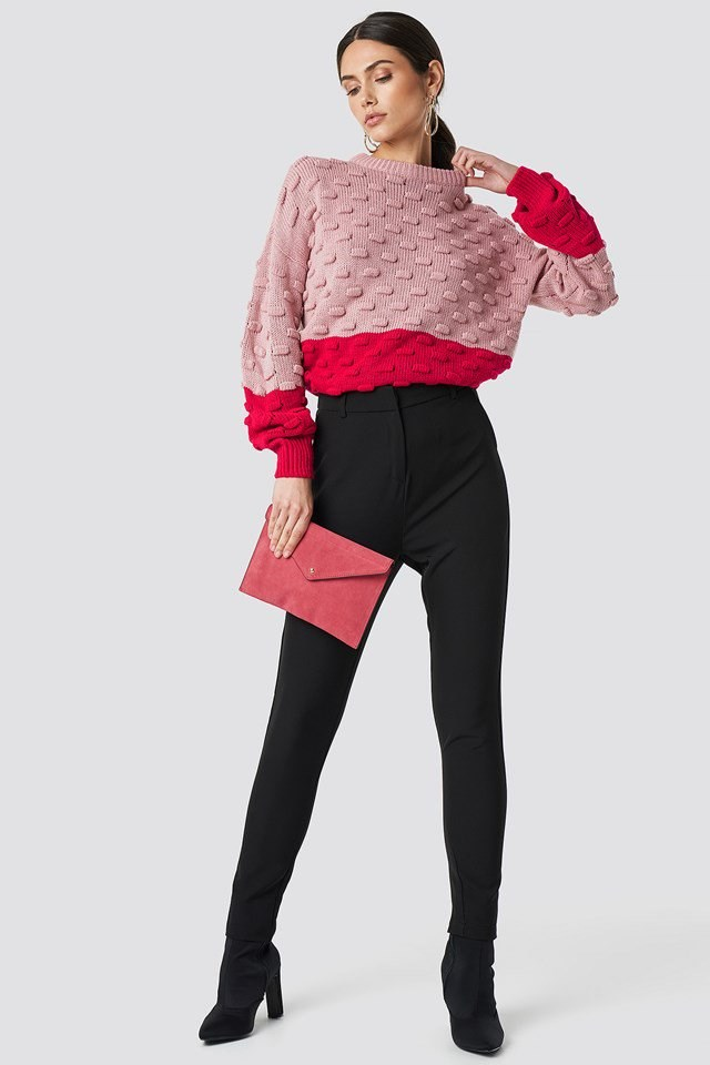 Pink Knit X Clutch Outfit