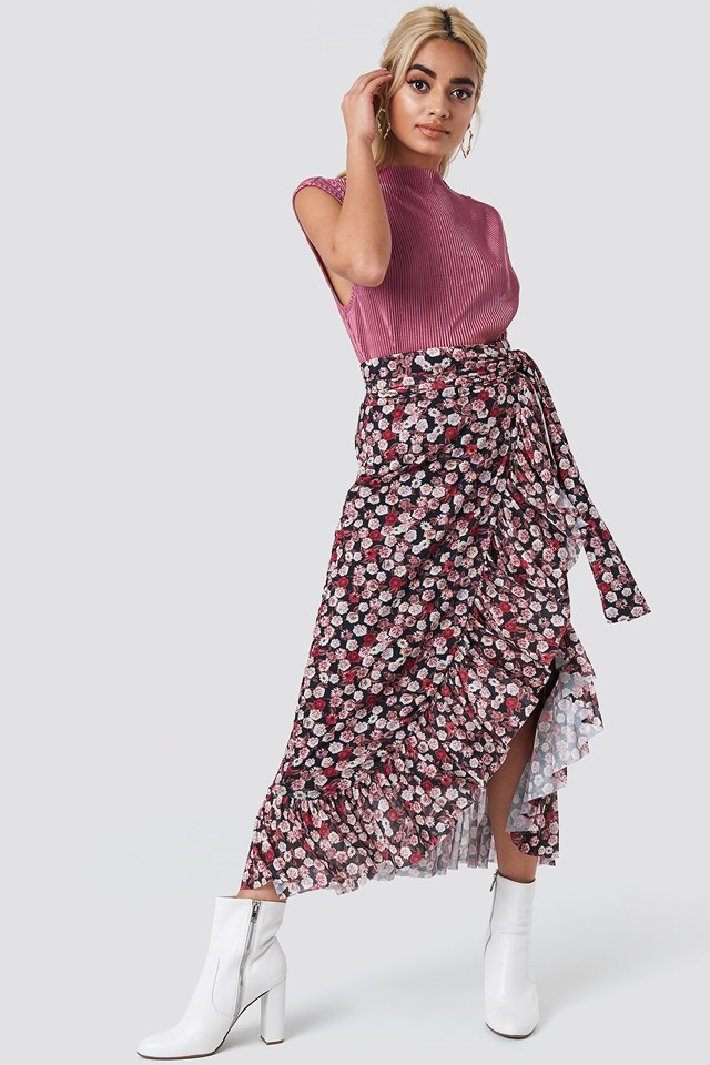Floral Overlap Maxi Skirt with Basic Top