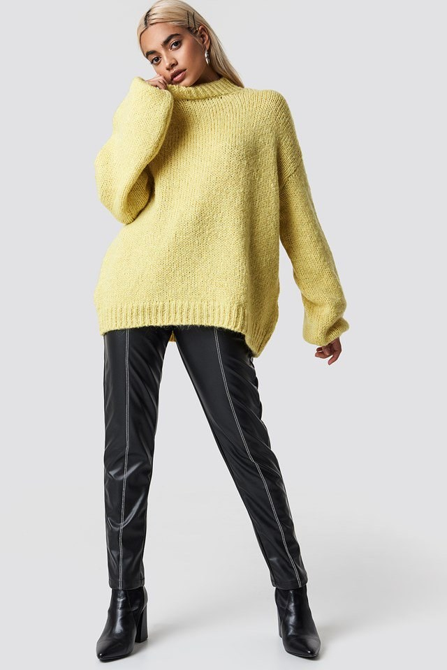Cozy Knit and Pu Pants Outfit